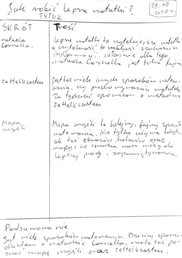 Jak robić lepsze notatki - moje notatki metodą Cornella