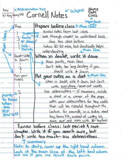 Przykład notatek ze strony: http://www.brunswick.k12.me.us/khart/cornell-notes/